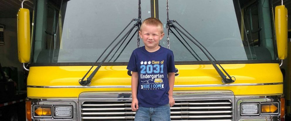PHOTO: Cooper Brooks, 5, was escorted to his first day of school on a fire truck from the Sullivan County Volunteer Fire Department where his father was a fireman.