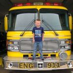 Cooper Brooks, 5, was escorted to his first day of school on a fire truck from the Sullivan County Volunteer Fire Department where his father was a fireman.