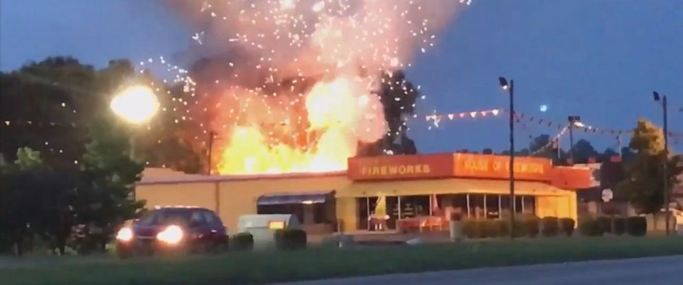 PHOTO: Fireworks explode out of a burning House of Fireworks store in the early morning hours of July 4, 2019, in Fort Mill, S.C.