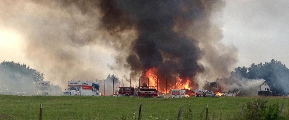Fire engulfed a fireworks wholesaler in Pleasant Hope, Missouri, on Tuesday, July 3, 2018.