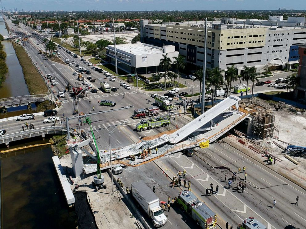 PHOTO: This photo provided by DroneBase shows the collapsed pedestrian bridge at Florida International University in the Miami, March 15, 2018.