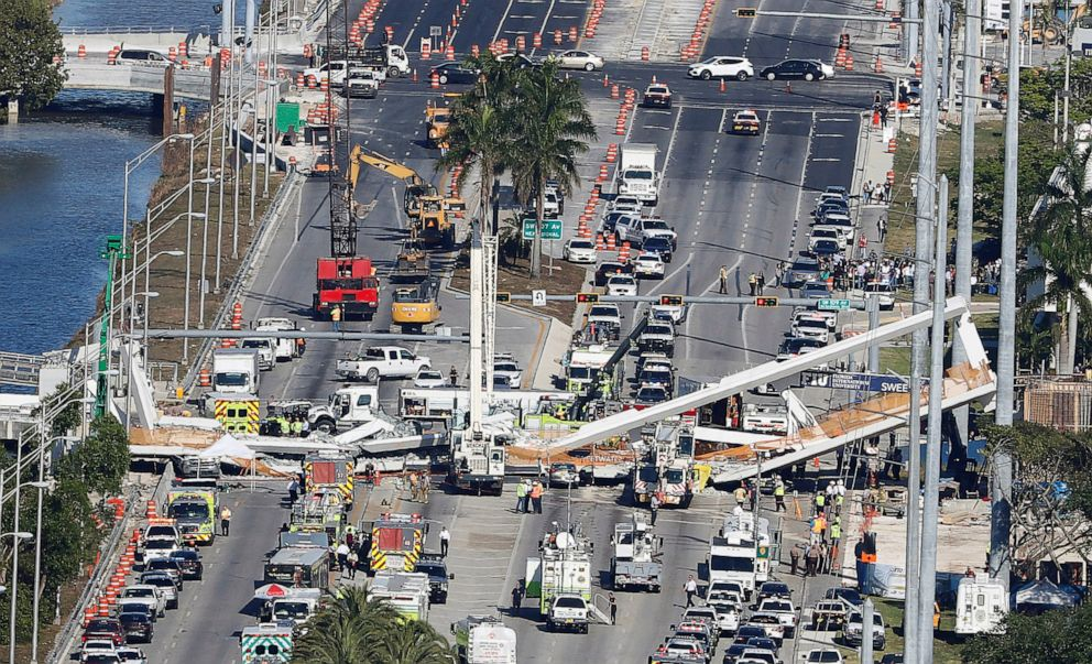PHOTO: Aerial view shows a pedestrian bridge collapsed at Florida International University in Miami, Florida, March 15, 2018.