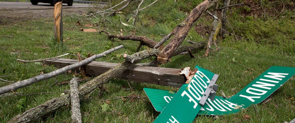 PHOTO: Fallen trees and street signs litter the grass off Highway 220 North after a tornado touched down in Franklin County, Va., Friday, April 19, 2019.