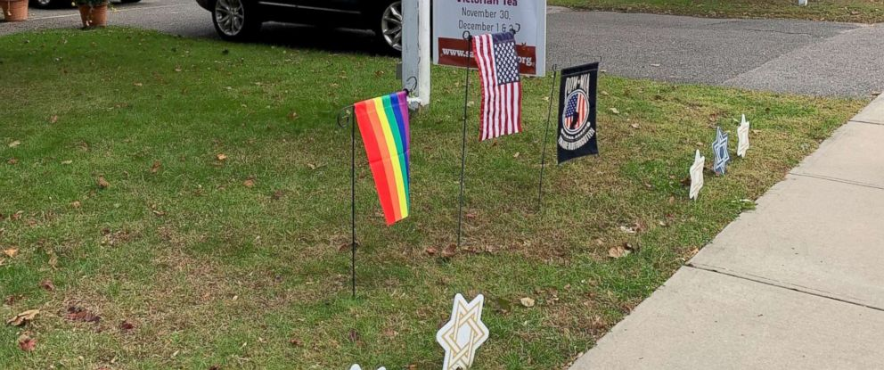PHOTO: One of six LGBT rainbow flags stolen from the lawn of the Sayville Congregation United Church of Christ on Long Island, New York, since July 29, 2018.