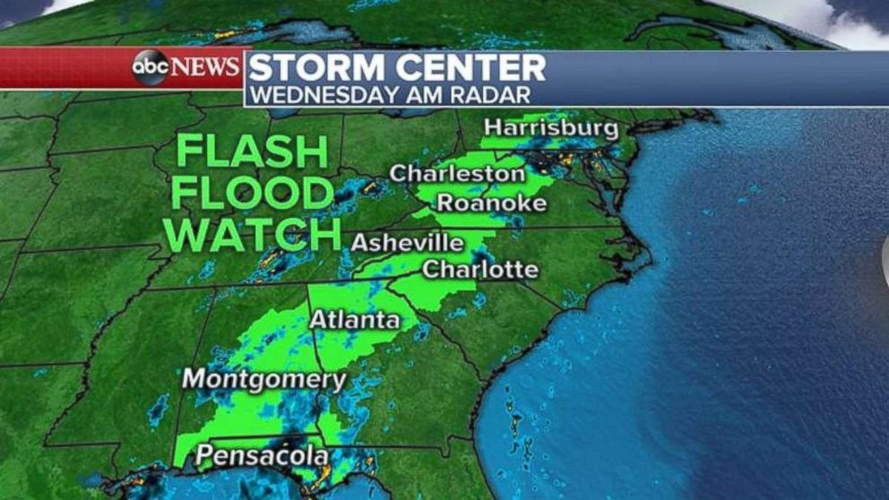 A flash flood watch is in place for inland Alabama, Georgia, South Carolina, North Carolina, Virginia, West Virginia and Pennsylvania.