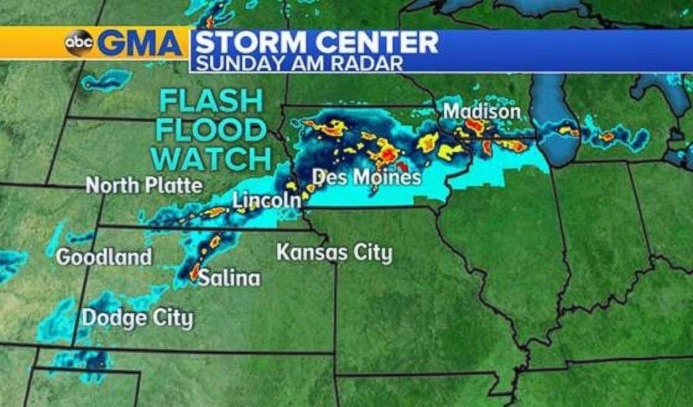 Heavy storms sweep through Iowa on Sunday morning.