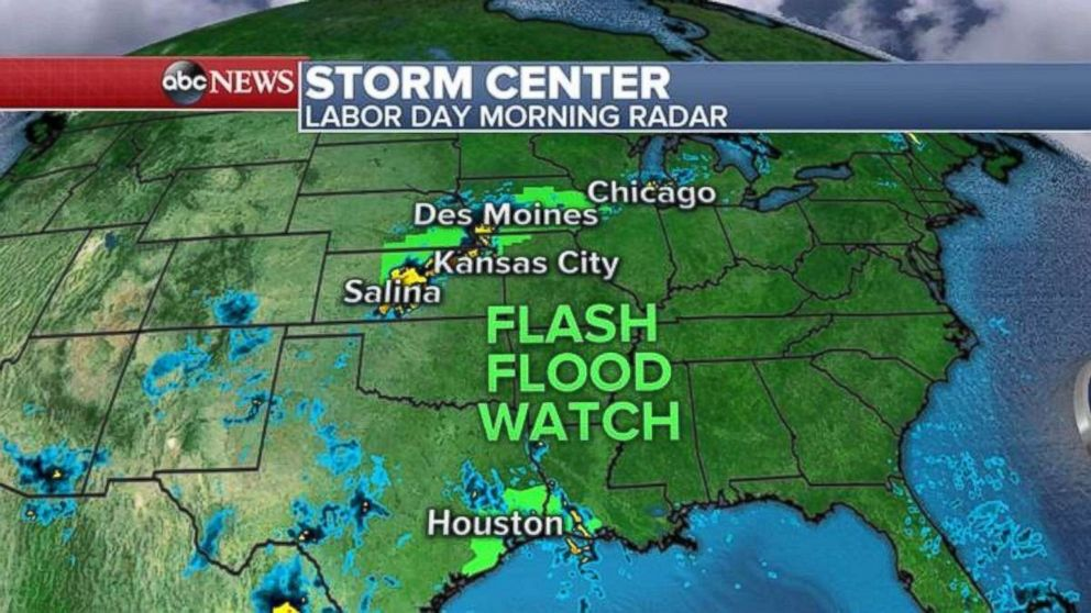 A flash flood watch is in place in the heartland, where storms are moving through Kansas, Iowa and northern Illinois.