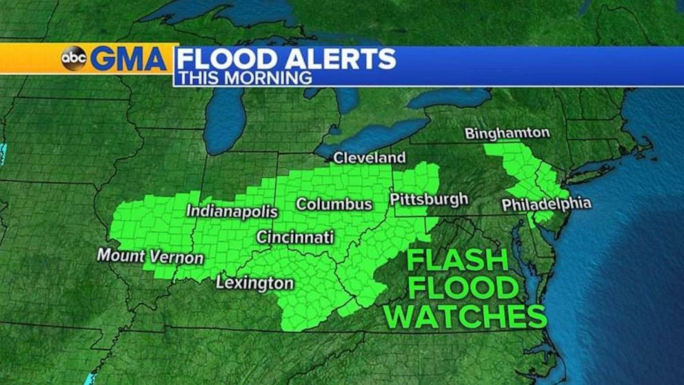 PHOTO: Flood watches are in place throughout the Midwest and in Delaware and southern New Jersey.