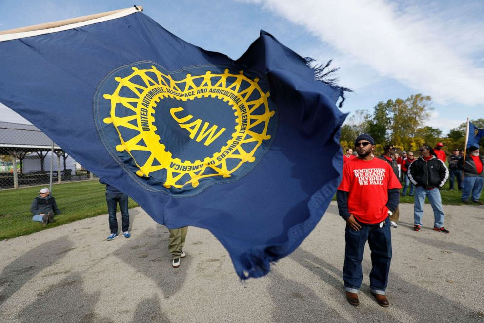 PHOTO: United Auto Workers union members and their families rally near the General Motors Flint Assembly plant on Solidarity Sunday on Oct. 13, 2019 in Flint, Mich.
