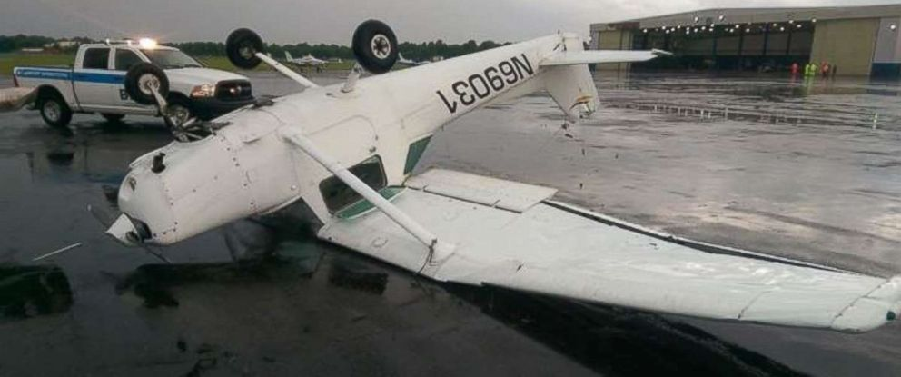 Winds gusted to at least 60 mph in Baton Rouge, Louisiana, where small airplanes were flipped on Tuesday, June 5, 2018.