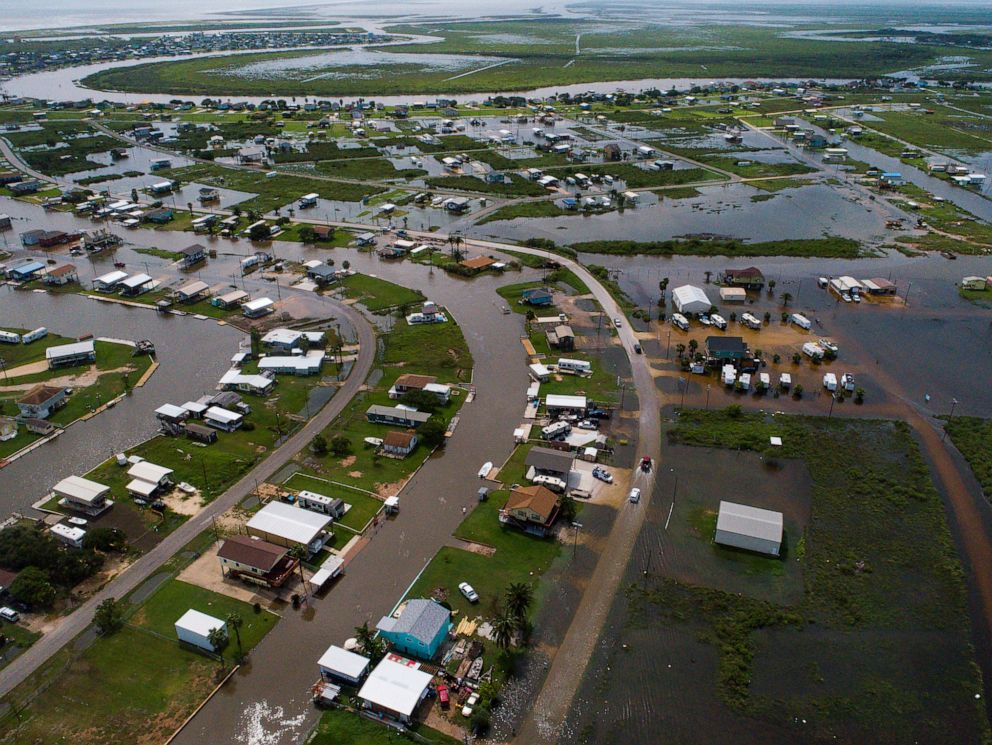 PHOTO: According to Matagorda County Constable Bill Orton, Sargent received 22 inches of rain since Imelda started impacted the area on Tuesday. Photographed from above Sargent, Texas, Sept. 18, 2019.