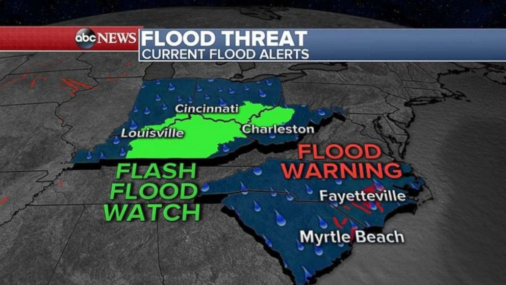 PHOTO: Flooding and flash flooding alerts are in place in the Midwest and the Carolinas on Tuesday.
