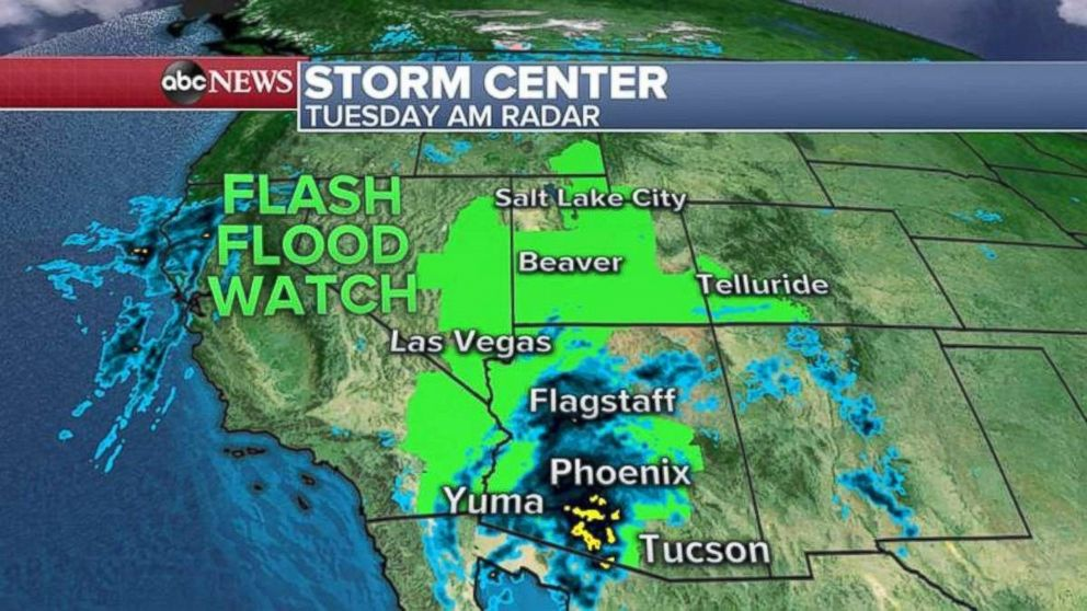Flash flood watches are in place across seven states on Tuesday due to the remnants of Rosa.