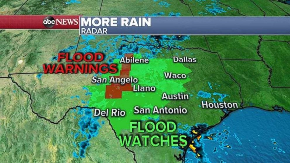 PHOTO: Flood warnings and flood watches are in place in central Texas on Friday.