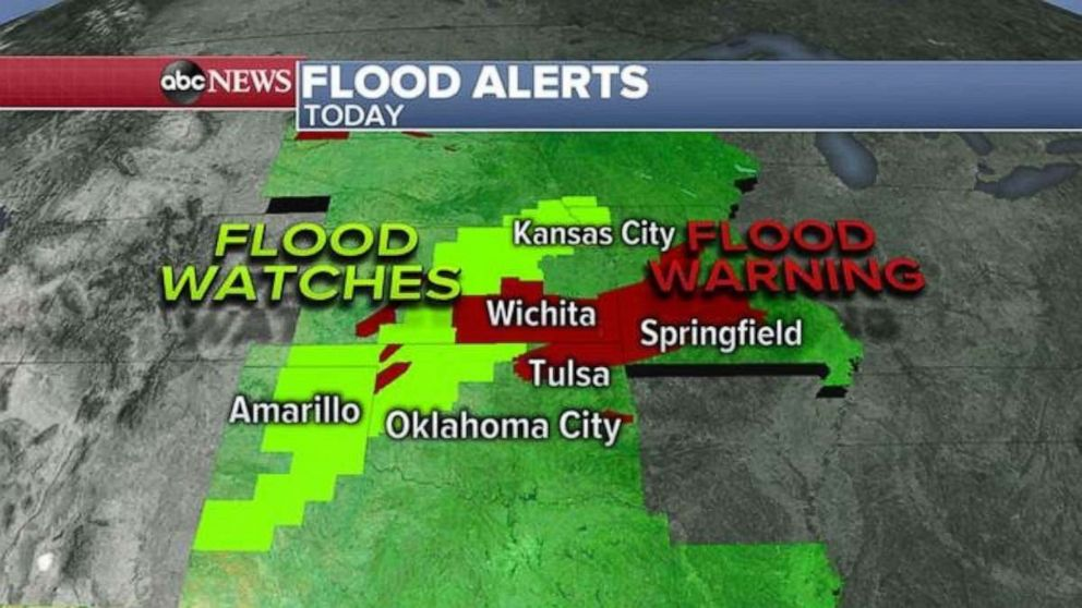 PHOTO: There are flood watches and warnings in the Texas Panhandle, Oklahoma, Kansas and southern Missouri on Friday.