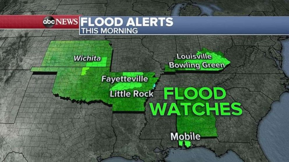 PHOTO: Flooding is possible in parts of Kansas, Oklahoma, Arkansas and Kentucky on Friday.