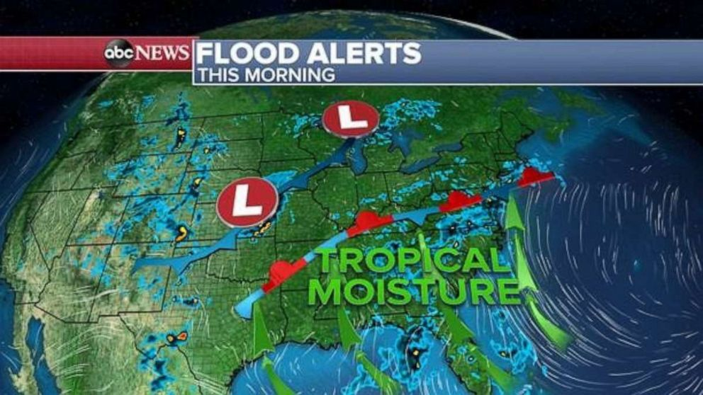 PHOTO: Tropical moisture is moving north from the Gulf on Wednesday.