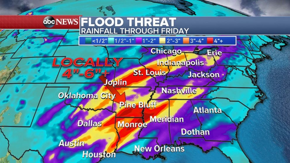 Flooding is possible across much of the South through the end of the week.