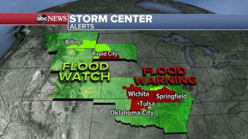 PHOTO: Flooding is possible in the Northern Rockies and Southern Plains on Wednesday.