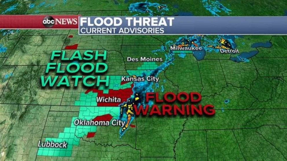 PHOTO: A flash flood watch and flood warning are in effect in the Southern Plains on Saturday.