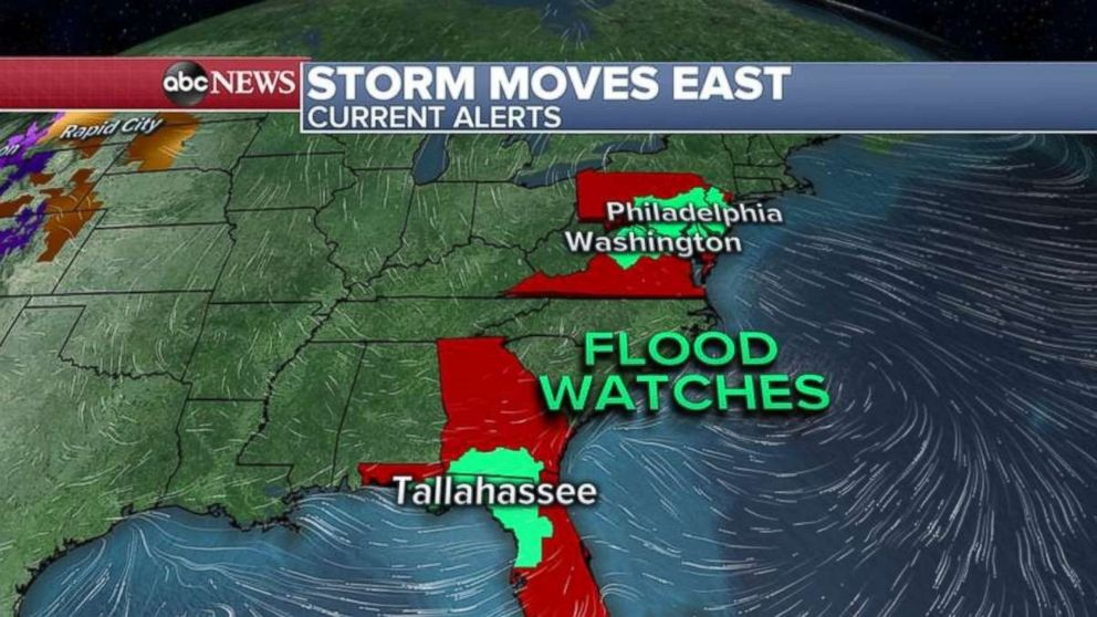 PHOTO: Flood watches have been issued in Florida and Georgia as well as the mid-Atlantic on Wednesday.