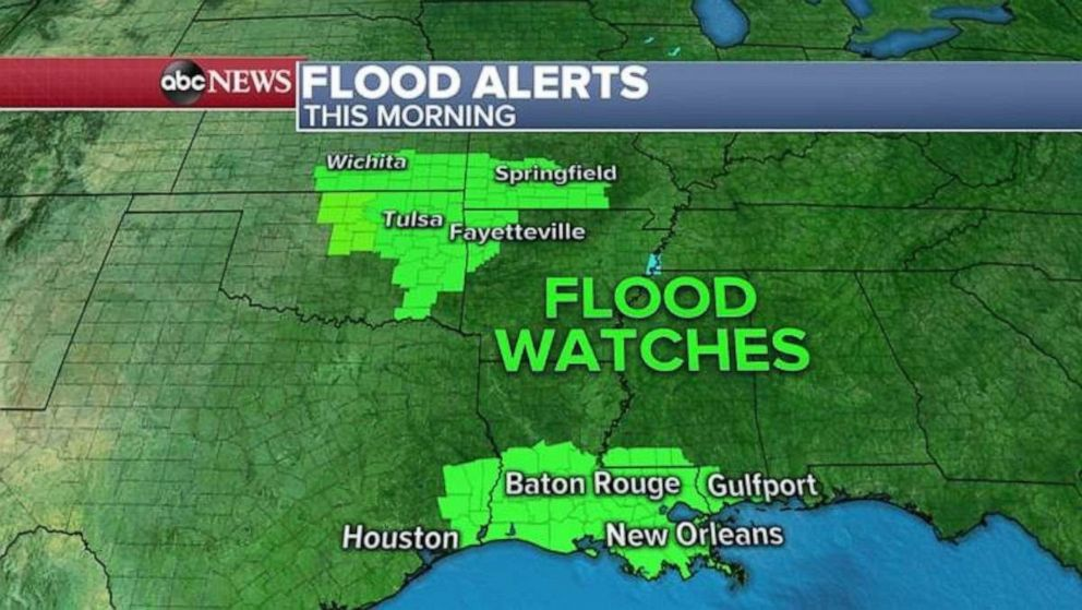PHOTO: Flood watches are in effect in southern Louisiana and four states in the Southern Plains.