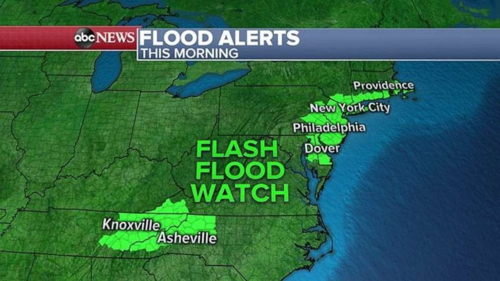 PHOTO: Flash flood watches are in effect in the Northeast and parts of western North Carolina and eastern Tennessee on Tuesday.