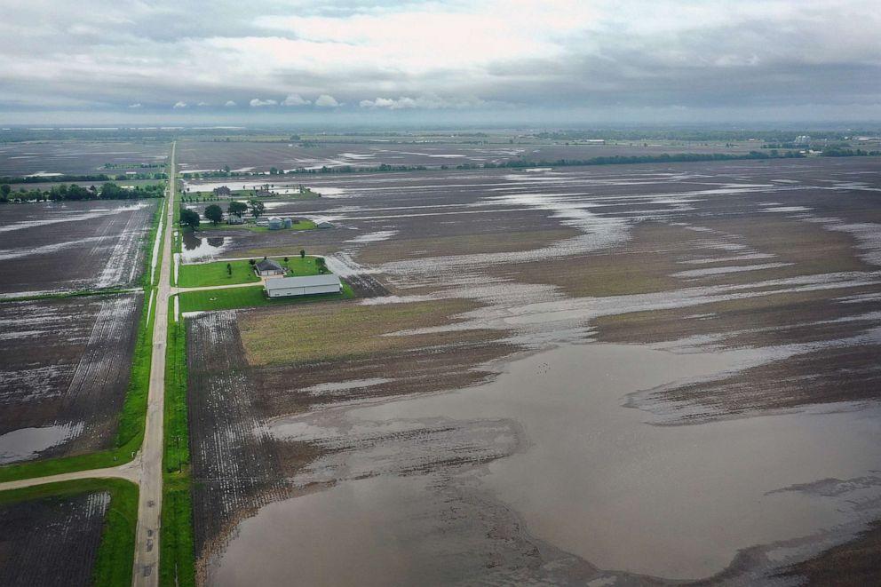 PHOTO: Water pools in rain-soaked farm fields on May 29, 2019, near Gardner, Ill.