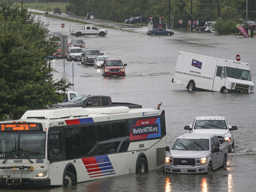 PHOTO: Cars are flooded, Sept. 19, 2019, in Houston, Texas.