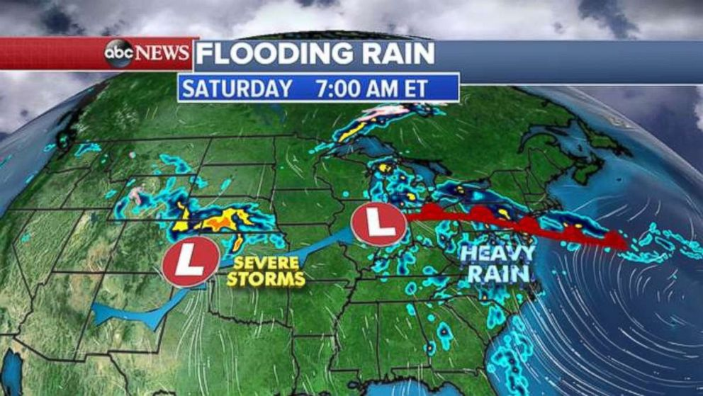 Storms are affecting two parts of the United States on Saturday.