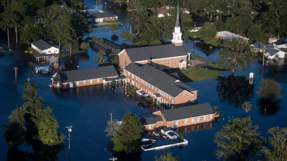 Floodwaters inundate a church in Conway, S.C., after Hurricane Florence struck the Carolinas, Sept. 17, 2018.
