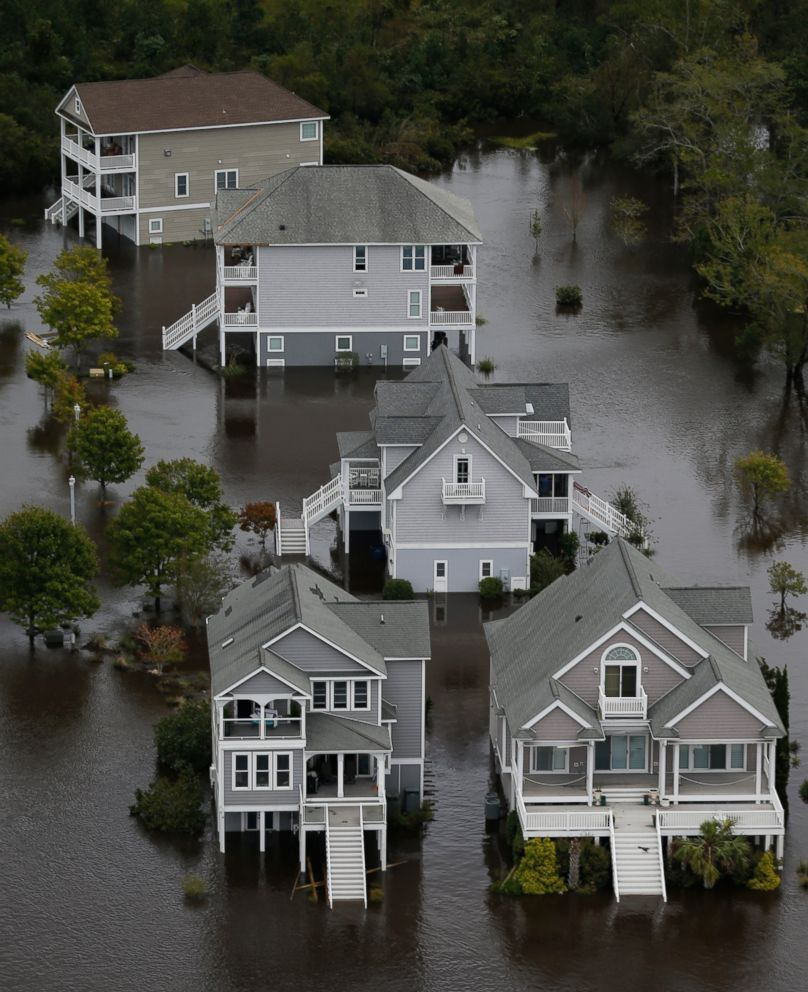 PHOTO: Homes along the New River are flooded as a result of high tides and rain from Hurricane Florence which moved through the area in Jacksonville, N.C., Sunday, Sept. 16, 2018.
