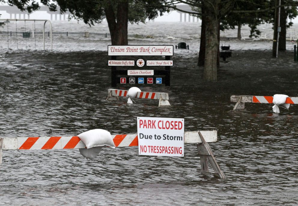 PHOTO: Union Point Park is flooded with rising water from the Neuse and Trent Rivers in New Bern, N.C., Sept. 13, 2018.