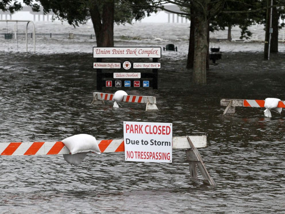 PHOTO: Union Point Park is flooded with rising water from the Neuse and Trent Rivers in New Bern, N.C. Sept. 13, 2018.