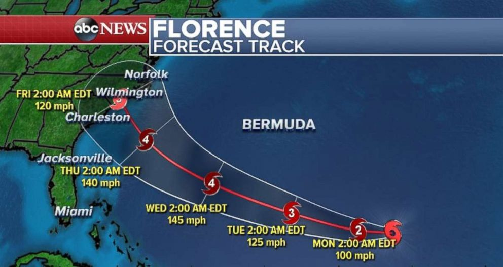 Florence continues to strengthen on Sunday and will likely become a major hurricane by Monday.