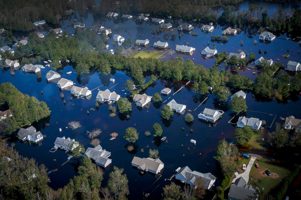 PHOTO: Dozens of homes are surrounded by floodwaters brought to the area by Hurricane Florence in Pender County, N.C., Sept. 22, 2018. The floodwaters have swallowed an estimated 25 percent of Pender county.