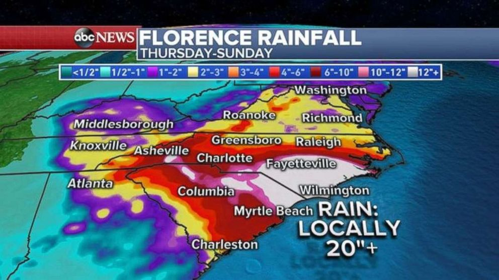 PHOTO: More than 20 inches of rain could fall in parts of North Carolina and northeast South Carolina.