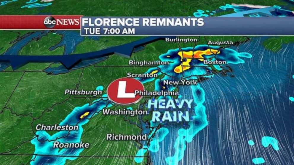 Remnants of Florence feature to soak Northeast