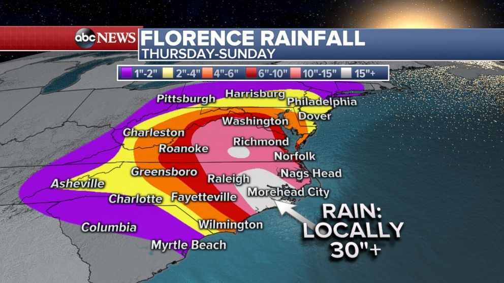 PHOTO: Hurricane Florence Rainfall Forecast