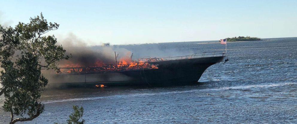 PHOTO: The Pasco Sheriffs Office released this photo of a boat on fire in the Port Richey canal in Florida, Jan. 14, 2018.