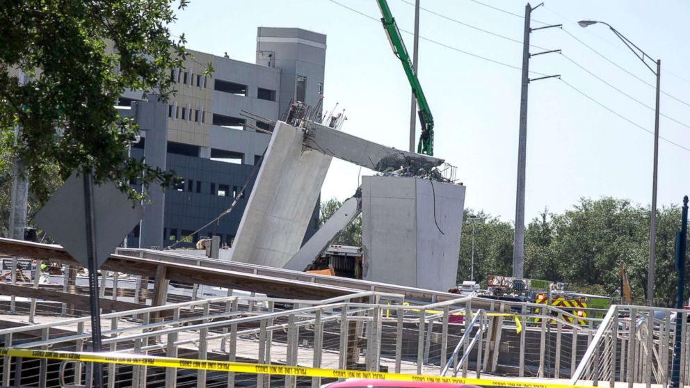 A pedestrian bridge collapsed at the Florida International University in Miami on March 15, 2018.