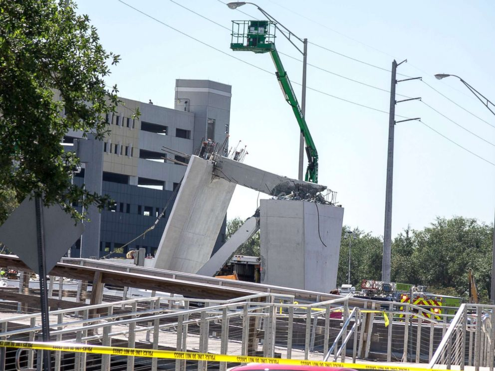 PHOTO: A pedestrian bridge collapsed at the Florida International University in Miami on March 15, 2018.