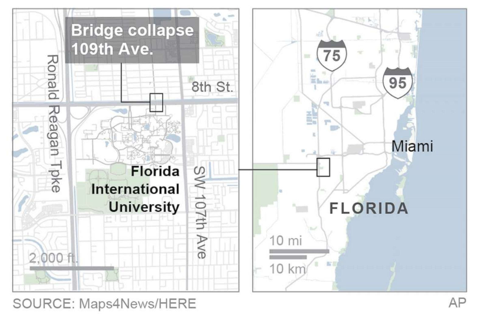 FIU bridge collapse: At least 4 killed after pedestrian ... on bucknell google maps, texas google maps, new mexico google maps, columbia google maps, xavier google maps, utah google maps, north carolina google maps, wyoming google maps, utsa google maps, clemson google maps, florida google maps, delaware google maps, mississippi google maps, south carolina google maps, duke google maps, smu google maps, iowa google maps, villanova google maps, albany google maps, troy google maps,