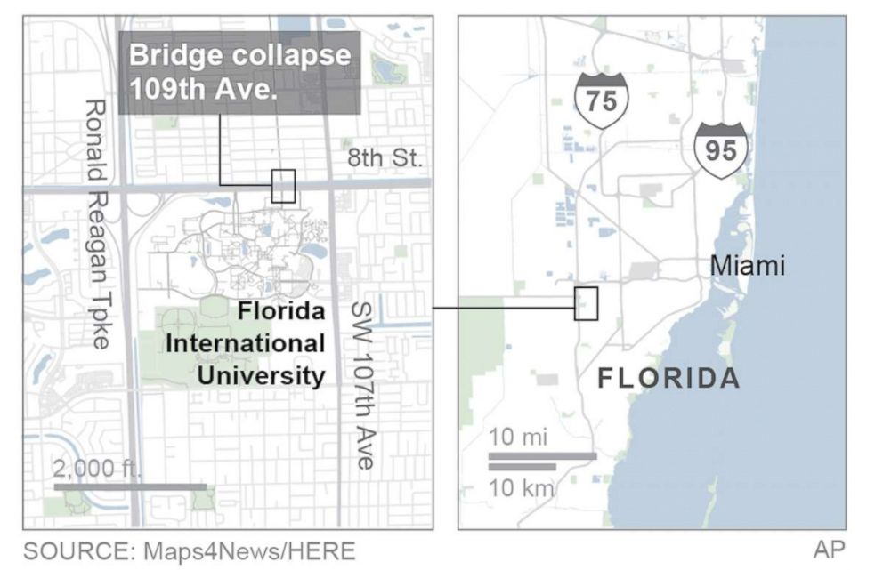 University Of Florida Location Map.Fiu Bridge Collapse At Least 4 Killed After Pedestrian Bridge At