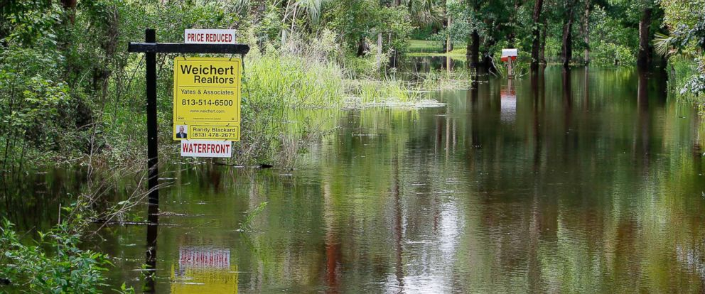 PHOTO: Floodwaters cover parts of River Drive in Valrico, Fla., due to heavy rain over the last few weeks which caused the Alafia River to spill its banks, May 21, 2018.