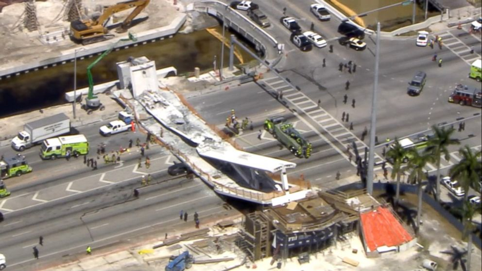 First responders were seen tending to injured victims on the scene of a pedestrian bridge that collapsed on the Florida International University campus.