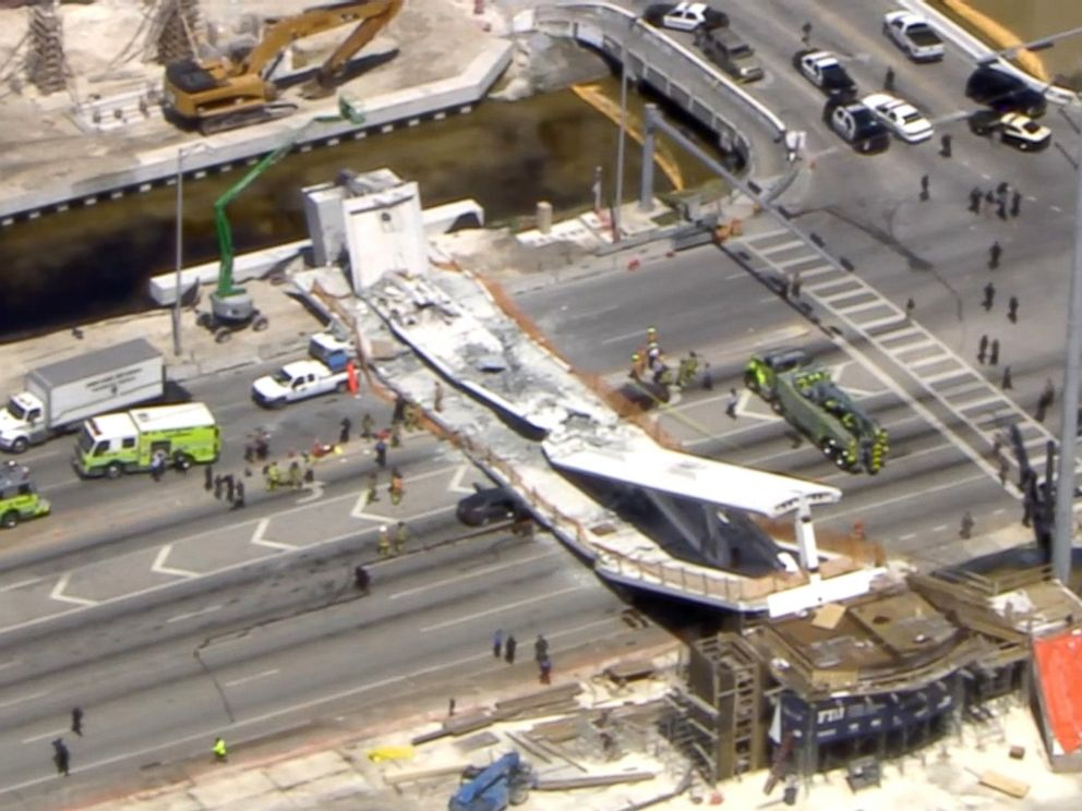 New pedestrian bridge collapses at Florida International University, crushing eight cars