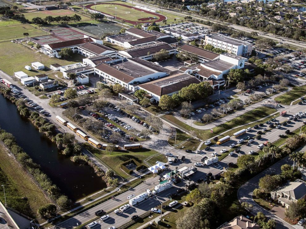 PHOTO: Marjory Stoneman Douglas High School is pictured in an aerial view in Parkland, Florida, Feb. 15, 2018.