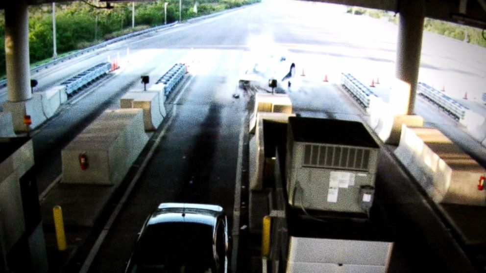 PHOTO: The moment a driver careened into a Florida tollbooth. Officials later revealed he was falling asleep at the wheel.