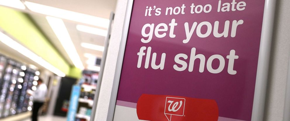 PHOTO: A sign advertising flu shots is displayed at a Walgreens pharmacy on Jan. 22, 2018, in San Francisco.